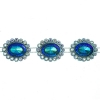 Plastic Trimming-stellina 5Yds 28x23mm Turquoise Aurora Borealis
